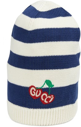 Gucci Striped cotton hat with cherry