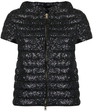 Herno Short Sleeve Sequin Puffer Jacket