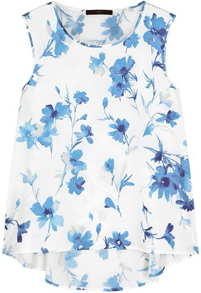 High Cue Floral-print Satin Top