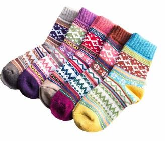 Dawwoti 5 Pairs Women's Socks Winter Classic Crew Sock Christmas Gift Fancy Crazy Design Patterned Sock