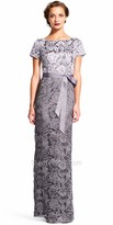 Adrianna Papell Short Sleeve Lace Column Evening Dress