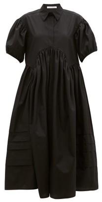 Cecilie Bahnsen Margo Pintucked Cotton-poplin Midi Shirt Dress - Black