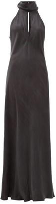 Worme - The High Neck Silk Maxi Dress - Womens - Black