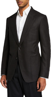 Tom Ford Men's Shelton Flannel Two-Button Jacket with Elbow Patches