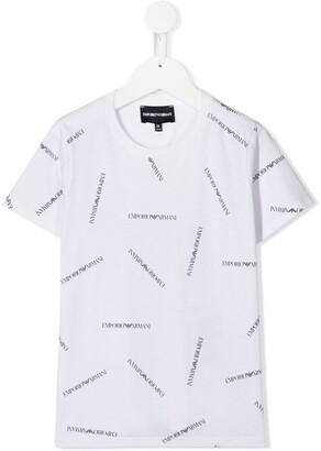 Emporio Armani Kids short sleeve all over logo T-shirt
