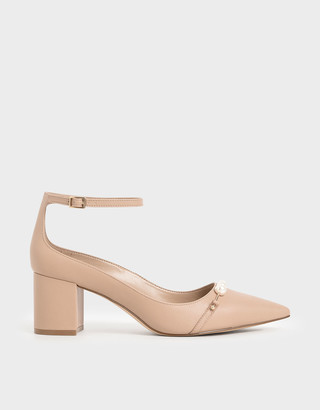 Charles & Keith Embellished Pointed Toe Pumps