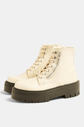 Topshop Womens **Wide Fit Brave Ecru Chunky Lace Up Unit Boots - Off White