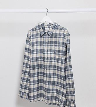 Topman Big & Tall long sleeve check shirt in brown & grey
