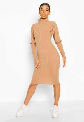 boohoo Petite Volume Sleeve Roll Neck Dress