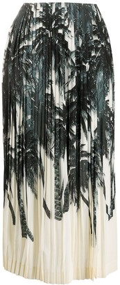 Ermanno Scervino Palm Tree Print Pleated Skirt