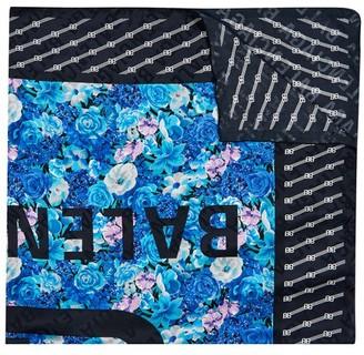 Balenciaga Blue Floral silk scarf