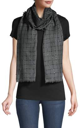 Bindya Lurex Windowpane Cashmere-Blend Stole