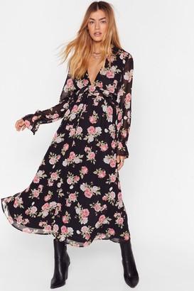 Nasty Gal Womens Who Rose Floral Midi Dress - Black