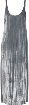 J Brand Alisha Silk-paneled Crushed-velvet Midi Dress