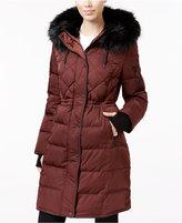 BCBGeneration Faux-Fur-Trim Cinched-Waist Puffer Coat