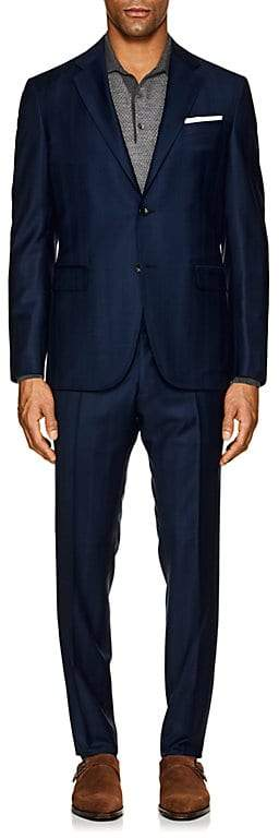 Barneys New York MEN'S PLAID WOOL TWO-BUTTON SUIT