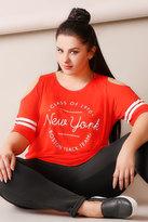 "Yours Clothing Orange Varsity ""New York"" Slogan Print Cold Shoulder Top"