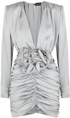 Magda Butrym Grey ruched silk mini dress