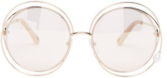 Chloé Carlina Faux-pearl Round Metal Sunglasses - Womens - Rose Gold