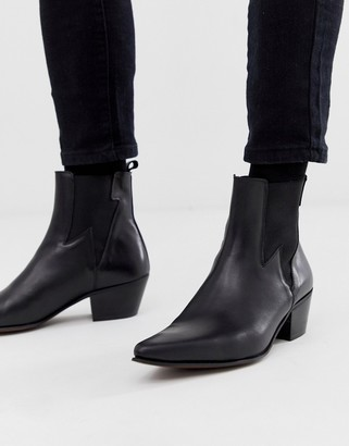 Asos DESIGN stacked heel western chelsea boots in black leather with lightning detail