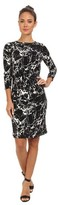 Calvin Klein 3/4 Sleeve Ruched Side Sheath Womens Dress Black Birch XSmall
