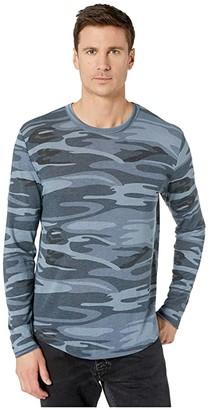 Alternative Long Sleeve Eco Shirttail Tee (Blue Camo) Men's Clothing
