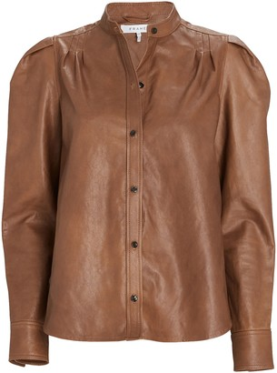 Frame Charlie Puff Sleeve Leather Shirt