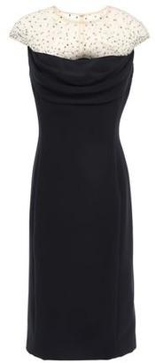 Jenny Packham Crystal-embellished Tulle-paneled Stretch-cady Dress