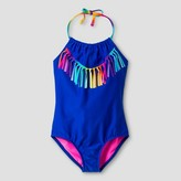 Xhilaration Girls' One Piece Swimsuit With Tassels Blue