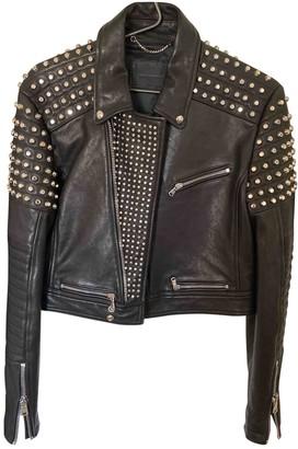 Diesel Black Gold Black Leather Jacket for Women