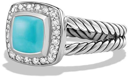 David Yurman Petite Albion Ring with Turquoise and Diamonds