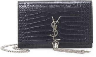 Saint Laurent Kate Tassel Croc-Embossed Leather Shoulder Bag