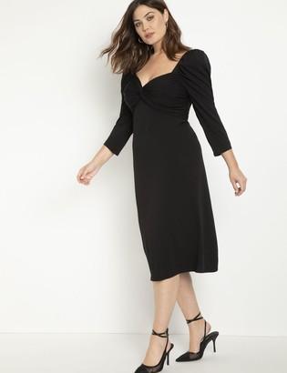 ELOQUII Cinched Bodice Midi Dress