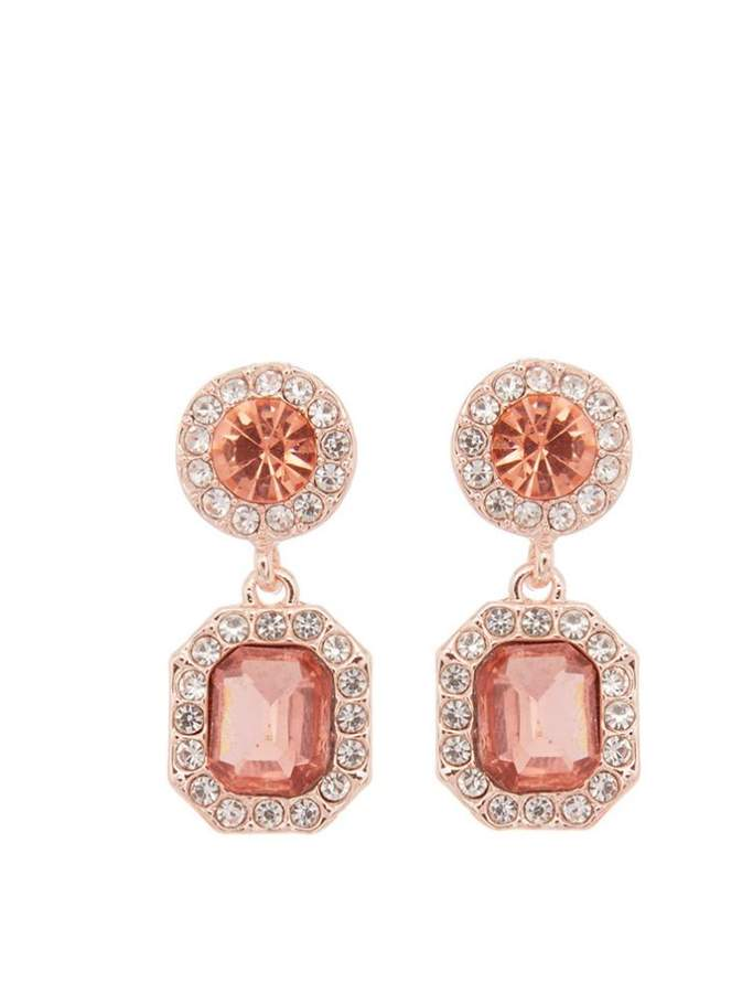 Quiz Rose Gold And Clear Drop Earrings