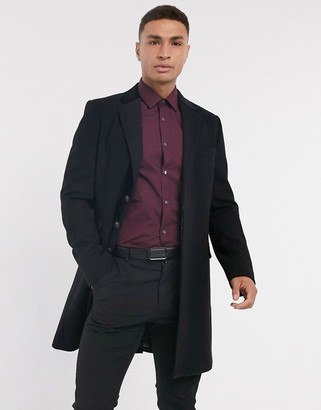 Gianni Feraud wool blend single breasted classic overcoat with velvet collar