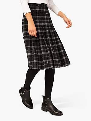 Brora Plaid Wool Kilt Skirt, Charcoal