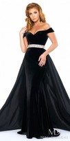 Mac Duggal Strapless Off the Shoulder Velvet Evening Gown with Overskirt