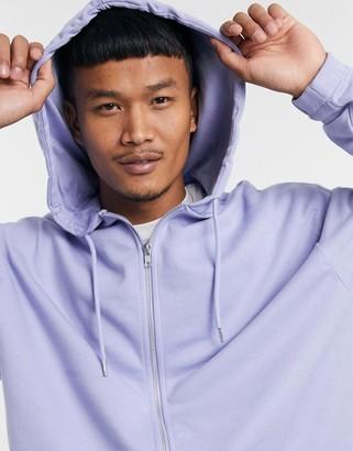 ASOS DESIGN organic oversized zip up hoodie with fixed hem in pastel purple