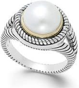 Macy's Cultured Freshwater Pearl Rope Ring in Sterling Silver and 14k Gold (10mm)