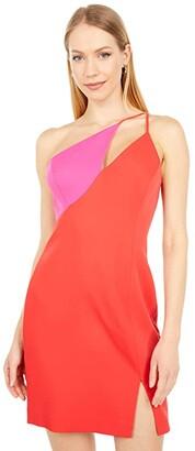 BCBGMAXAZRIA Color-Blocked Cocktail Dress (Rosso Combo) Women's Dress