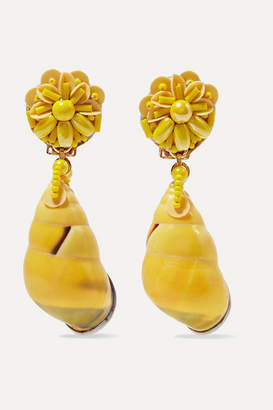 Ranjana Khan Beaded Shell And Leather Clip Earrings - Yellow