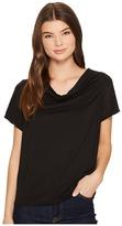 Three Dots Refined Jersey Cowl Neck Top w/ Silk Trim Women's Blouse