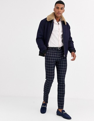 ASOS DESIGN wool mix harrington jacket with detachable fleece collar in navy