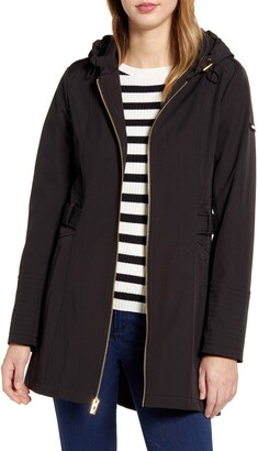 Via Spiga Hooded Zip Soft Shell Raincoat