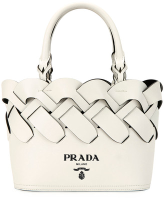 Prada Woven Leather Top-Handle Tote Bag