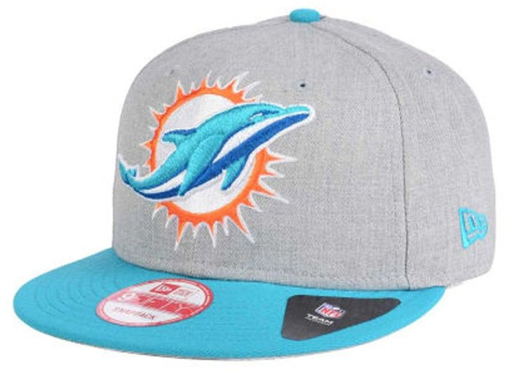 New Era Miami Dolphins Snapback 9Fifty Heather Grand Cap Hat Grey Wool Teal