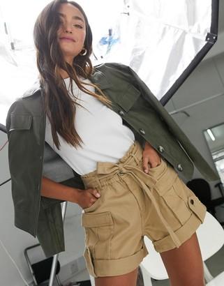 Vero Moda belted cargo shorts in beige