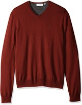 Calvin Klein Men's Merino Menswear Moon and Tipped V-Neck 12gg Sweater, h, L