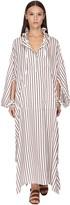 Salvatore Ferragamo Striped Silk Satin Caftan Dress