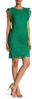 Chetta B Crochet Lace Ruffle Sleeve Dress